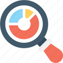 graph, magnifier, pie graph, search analytics, search graph icon