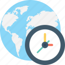 clock, global, globe, time zone, world time icon