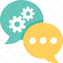 chat, cogs, support, talk, technical support icon