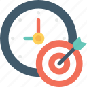 bullseye, business target, clock, target, timer icon