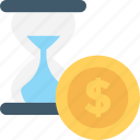 chronometer, dollar, egg timer, hourglass, timer icon