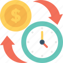 banking, clock, dollar, investment time, timer icon