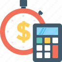 budget, business, dollar, finance, stopwatch icon