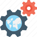 cog, globe, internet setting, map setting, world map icon