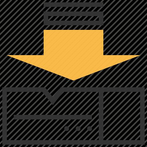 arrow, box, inbox, project icon