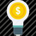bulb, business idea, dollar, idea, innovation icon