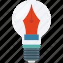 pen, bulb, artwork, idea, creativity icon