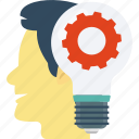 brainstorming, bulb, cog, human head, idea in mind, thinking icon