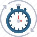 continuous, time, sync, syncing, timer icon