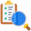 review, task, list, tasks, clipboard, loupe icon