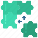 solutions, puzzle, piece, solve icon