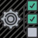deliverable, management, tasks, cog, gear icon