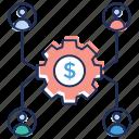 business management, cash flow setting, financial team, financial team management, money flow management icon