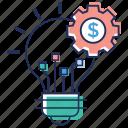 business idea, financial idea generation, idea creation, innovative development, progress idea icon
