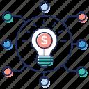 business network, communication idea, creative network, great idea, innovative network icon