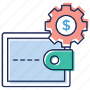 financial management, money management, money protection, money savings, wallet with gear icon