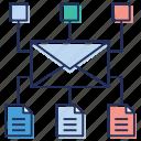 communication network, data sharing network, email communication, folder sharing, messaging icon
