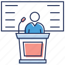 debate, lecture, orator, seminar, speech icon