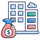 bank, depository institution, financial institution, investment bank, treasury bank icon