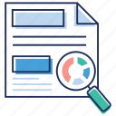 analyzes the documents, doc review, document review, project review, quality assurance process icon
