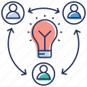 creative management, creative network, creative team, innovative employees, innovative management icon
