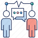 business chat, business communication, business talk, chatting, forum discussion, messaging icon