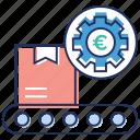 box conveyor, conveyor, crate delivery conveyor, crate delivery conveyor conveyor, mechanical belt setting, stock conveyor icon