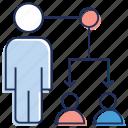 coordinator, esprit the corps, team coordination, team leader, teamwork icon