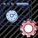 dashboard setting, online analytics, web reporting, web speed setting, web time setting icon