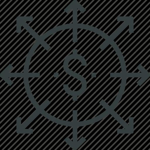 budget, cash, finance, flow, money, spend, ways icon