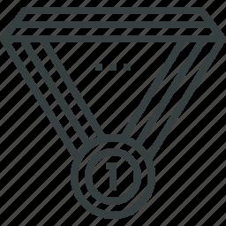 achieve, award, leader, medal, ribbon, win, winner icon