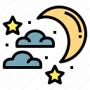 half, moon, nature, night, star icon