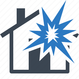 disaster, explosion, home insurance, house, protection icon