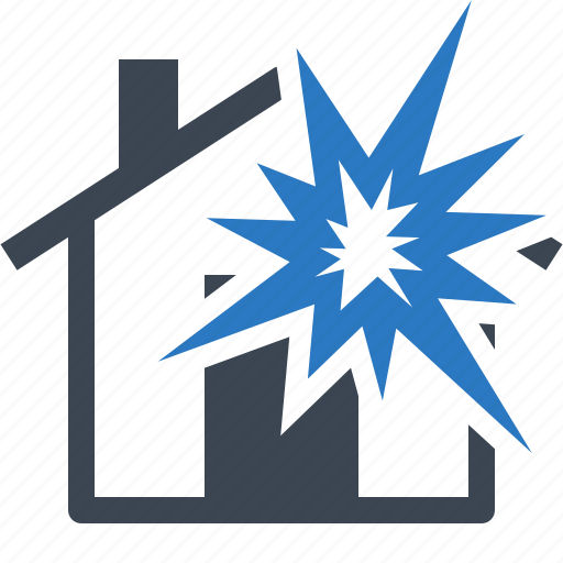explosion, home insurance, house, protection icon