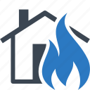 fire, flame, home insurance, house icon