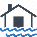disaster, flood, home insurance, house, water icon