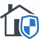 home insurance, home protection, house, safe, shield icon