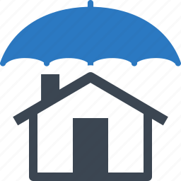 building, home insurance, home protection, house, safe, umbrella icon