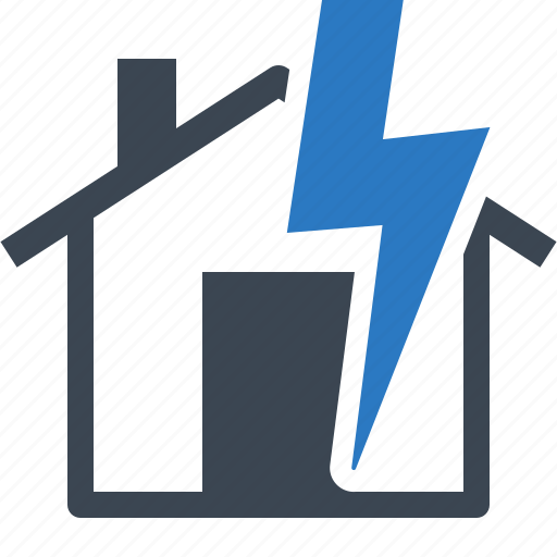 home insurance, house, lightning, protection, thunderstorm icon