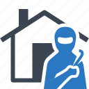 burglary, home insurance, house, thief icon