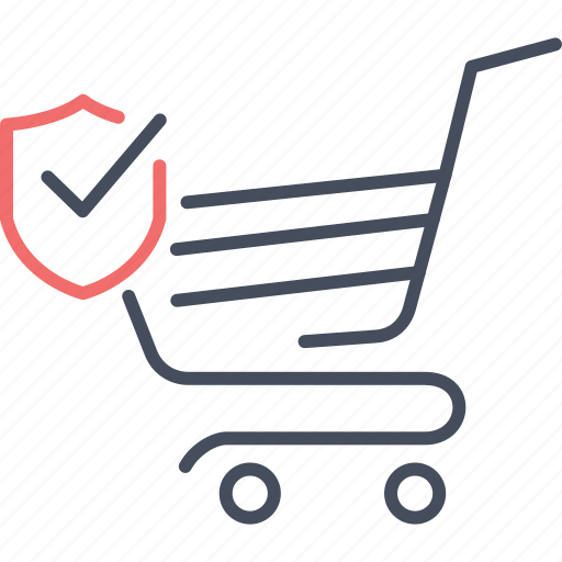 cart, customer, protection, security, shield, shopping icon