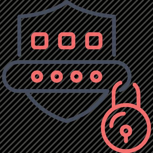 code, digital, lock, password, protection, shield icon