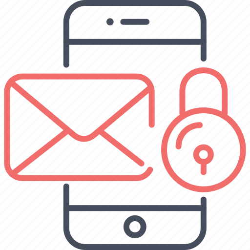 email, lock, mobile, privacy, protection, security icon