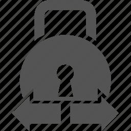 arrow, lock, protect, security icon
