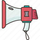 megaphone, announce, speaker, attention, loud