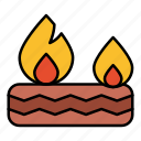brigade, burning, fire, tyre icon