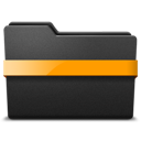 middle, orange, ribbon icon