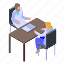 cartoon, doctor, family, isometric, medical, psychologist, woman