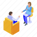 cartoon, family, isometric, medical, psychologist, session, woman icon