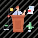 speech, public speaker, orator, lecture, podium icon
